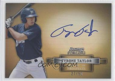 2012 Bowman Sterling Prospect Certified Autographs Gold Refractor [Autographed] #BSAP-TT - Tyrone Taylor /50