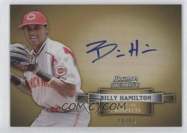 2012 Bowman Sterling Prospect Certified Autographs Gold Refractor #BSAP-BH - Billy Hamilton /50