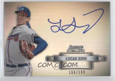 2012 Bowman Sterling Prospect Certified Autographs Refractor #BSAP-LS - Lucas Sims /199