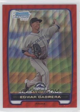 2012 Bowman Wrapper Redemption Chrome Prospects Red Wave Refractor #BCP64 - Edwar Cabrera /25