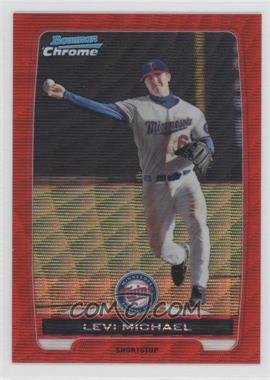 2012 Bowman Wrapper Redemption Chrome Prospects Red Wave Refractor #BCP85 - Levi Michael /25