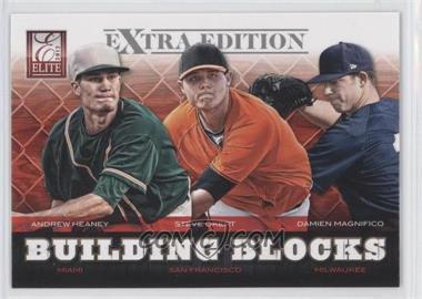 2012 Elite Extra Edition - Building Blocks Trio #8 - Andrew Heaney, Steve Okert, Damien Magnifico