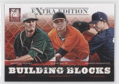 2012 Elite Extra Edition Building Blocks Trio #8 - Andrew Heaney, Steve Okert, Damien Magnifico