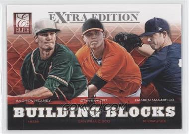 2012 Elite Extra Edition Building Blocks Trio #8 - Andrew Heaney, Steve Okert, Damien Magnifico