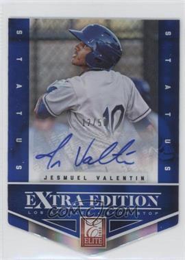 2012 Elite Extra Edition Status Blue Die-Cut Signatures #17 - Jesmuel Valentin /50