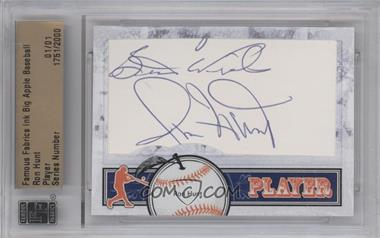 2012 Famous Fabrics Ink Big Apple Baseball Player Cut Autographs #ROHU - Ron Hunt /1 [ENCASED]