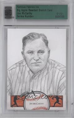 2012 Famous Fabrics Ink Big Apple Baseball Sketch Cards #3 - Joe McCarthy /1 [ENCASED]