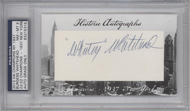 2012 Historic Autographs Champions Cut Autographs [Autographed] #BYWH - Burgess Whitehead /22 [PSA/DNACertifiedAuto]