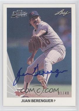 2012 Leaf Memories - 1990 Leaf Buy Back - [Autographed] #169 - Juan Berenguer /40