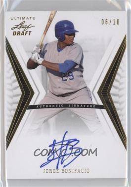 2012 Leaf Ultimate Draft - Base Autographs - Gold #BA-JB2 - Jorge Bonifacio /10