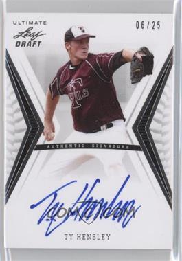 2012 Leaf Ultimate Draft - Base Autographs - Silver #BA-TH1 - Ty Hensley /25