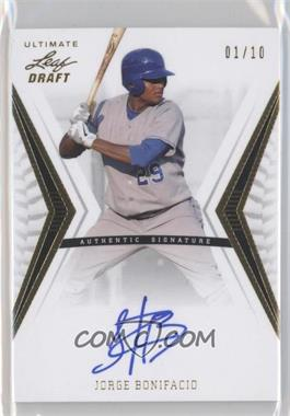 2012 Leaf Ultimate Draft Base Autographs Gold #BA-JB2 - Jorge Bonifacio /10