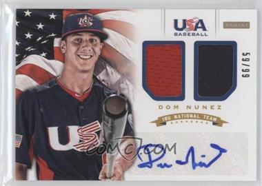 2012 Panini USA Baseball National Team - 18U National Team Dual Jerseys - Signatures [Autographed] #13 - Dom Nunez /99