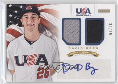 2012 Panini USA Baseball National Team - Collegiate National Team Dual Jerseys - Signatures [Autographed] #1 - David Berg /99