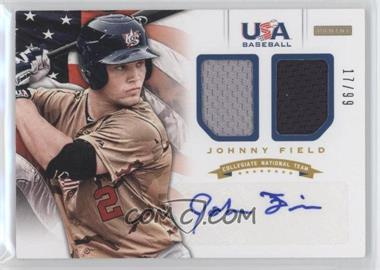 2012 Panini USA Baseball National Team - Collegiate National Team Dual Jerseys - Signatures [Autographed] #8 - Johnny Field /99