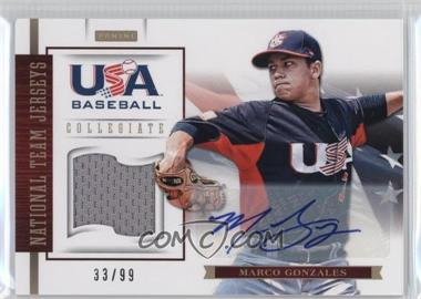 2012 Panini USA Baseball National Team - Collegiate National Team Jerseys - Signatures [Autographed] #10 - Marco Gonzales /99