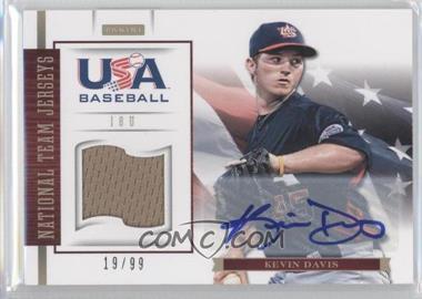 2012 Panini USA Baseball National Team 18U National Team Jerseys Signatures [Autographed] #7 - Kevin Davis /99