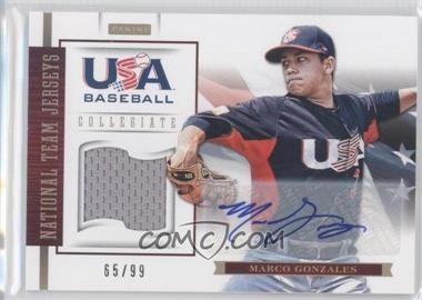 2012 Panini USA Baseball National Team Collegiate National Team Jerseys Signatures [Autographed] #10 - Marco Gonzales /99