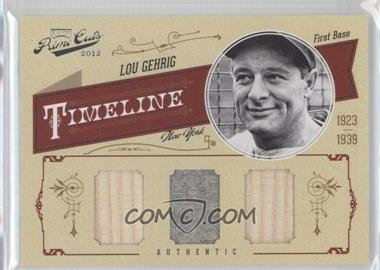 2012 Playoff Prime Cuts - Timeline - Trios Materials [Memorabilia] #32 - Lou Gehrig /25