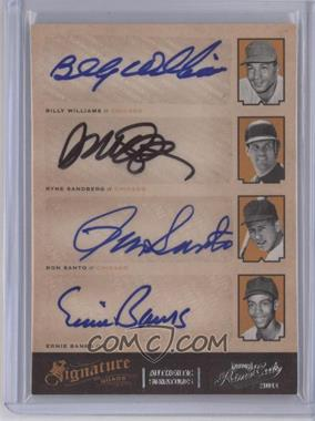 2012 Playoff Prime Cuts Signature Quads #5 - Billy Williams, Ryne Sandberg, Ron Santo, Ernie Banks /5