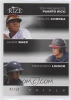 Carlos Correa, Javier Baez, Francisco Lindor /50
