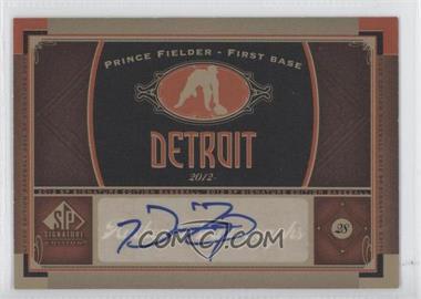 2012 SP Signature Collection - [Base] - [Autographed] #DET 8 - Prince Fielder