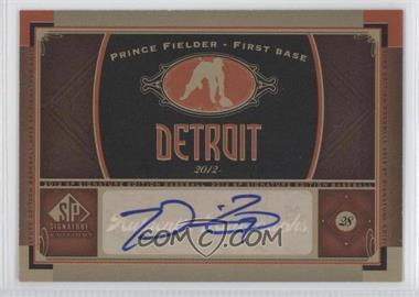 2012 SP Signature Collection - [Base] - [Autographed] #DET 8 - Prince Fielder