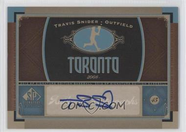 2012 SP Signature Collection [Autographed] #TOR 5 - Travis Snider