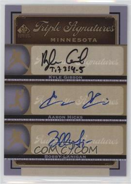 2012 SP Signature Edition - Triple Signatures #MIN14 - Kyle Gibson, Aaron Hicks, Bobby Lanigan