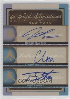 2012 SP Signature Edition - Triple Signatures #NYM14 - Reese Havens, Chin-Lung Hu, Tobi Stoner