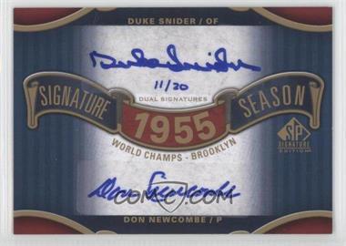 2012 SP Signature Edition Signature Season Dual Autograph #SS2-55WS - Duke Snider, Don Newcombe /20