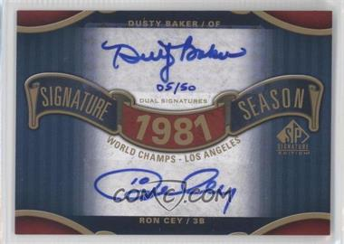 2012 SP Signature Edition Signature Season Dual Signatures #SS2-81WS - Dusty Baker /50