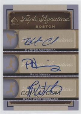 2012 SP Signature Edition Triple Signatures #BOS36 - Hunter Cervenka, Pete Hissey, Ryan Westmoreland