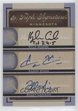 2012 SP Signature Edition Triple Signatures #MIN14 - Kyle Gibson, Aaron Hicks, Bobby Lanigan