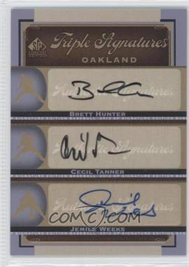 2012 SP Signature Edition Triple Signatures #OAK19 - Jemile Weeks, Brett Hunter, Cecil Tanner