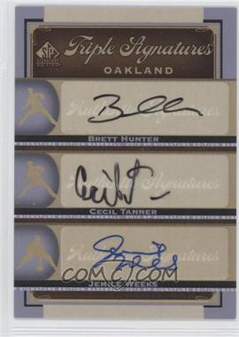 2012 SP Signature Edition Triple Signatures #OAK19 - Jemile Weeks, Brett Hunter, Cecil Tanner