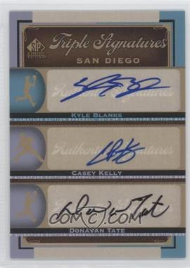 2012 SP Signature Edition Triple Signatures #SD12 - Kyle Blanks, Casey Kelly, Donavan Tate