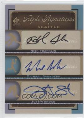 2012 SP Signature Edition Triple Signatures #SEA14 - Nick Franklin, Michael Saunders, Justin Smoak