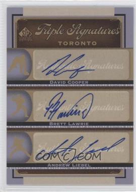 2012 SP Signature Edition Triple Signatures #TOR14 - David Cooper, Brett Lawrie, Andrew Liebel