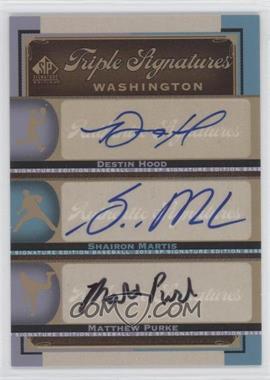 2012 SP Signature Edition Triple Signatures #WAS13 - Destin Hood, Shairon Martis, Matthew Purke