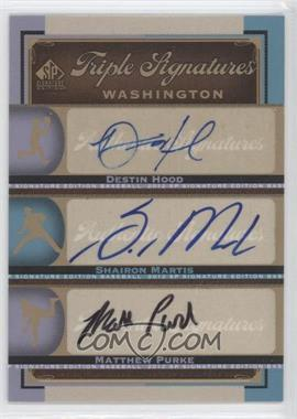 2012 SP Signature Edition Triple Signatures #WAS13 - Destin Hood, Shairon Martis, Matthew Purke