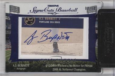 2012 TRISTAR Signa Cuts Cut Autographs Blue #AJBU - A.J. Burnett /10