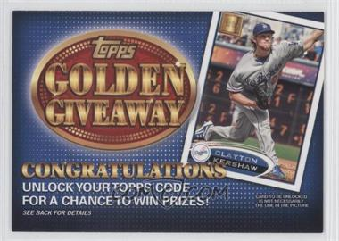 2012 Topps - Golden Giveaway Code Cards #GGC-14 - Clayton Kershaw