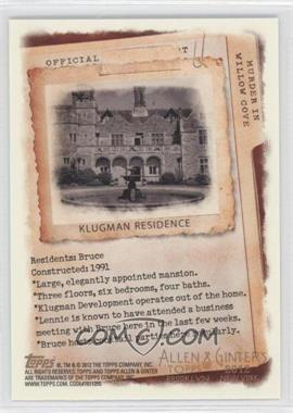 2012 Topps Allen & Ginter's - Code Cards #N/A - Klugman Residence