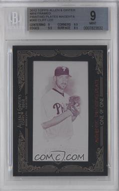 2012 Topps Allen & Ginter's Printing Plate Minis Magenta Framed #360 - Cliff Lee /1 [BGS 9]