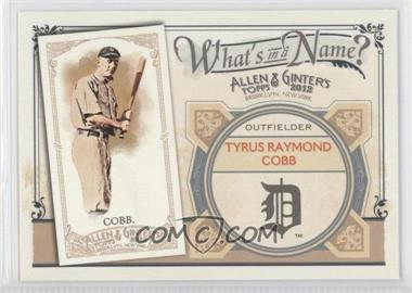 2012 Topps Allen & Ginter's What's in a Name? #WIN82 - Ty Cobb