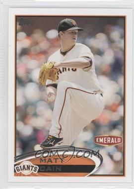 2012 Topps Emerald Nuts San Francisco Giants #SF3 - Matt Cain