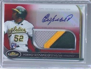 2012 Topps Finest - Autographed Jumbo Relic Rookies - Red Refractor #AJR-YC - Yoenis Cespedes /25