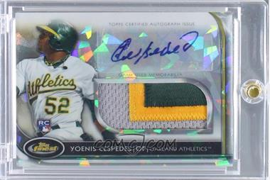2012 Topps Finest Autographed Jumbo Relic Rookies Atomic Refractor #AJR-AJR-YC - Yoenis Cespedes /5