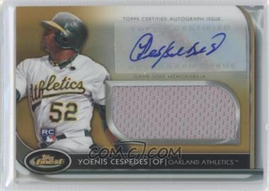 2012 Topps Finest Autographed Jumbo Relic Rookies Gold Refractor [Autographed] #AJR-YC - Yoenis Cespedes /50